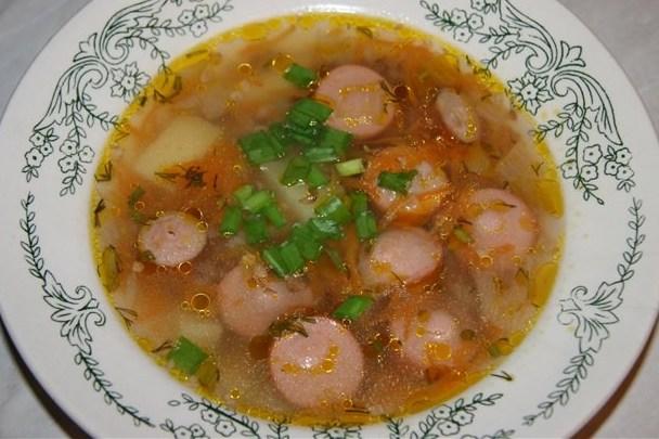 Рецепт густой суп с сардельками