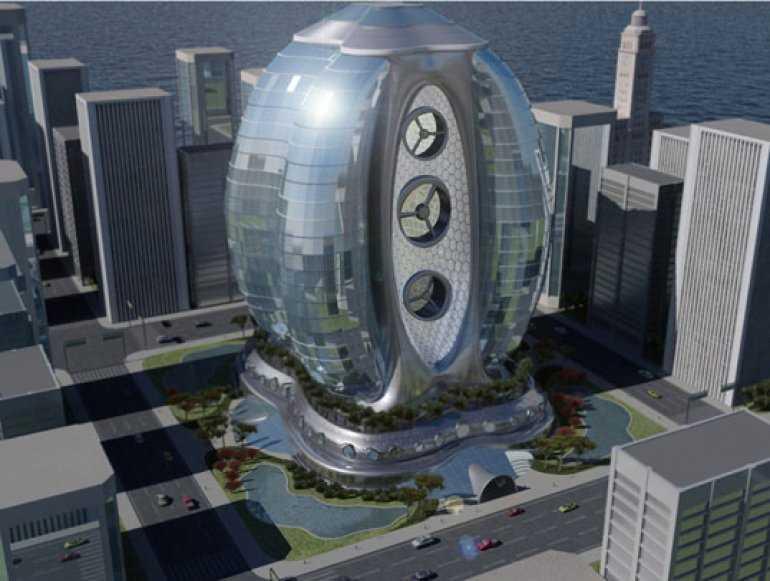 В Майами строится гостиница - небоскреб в форме яйца