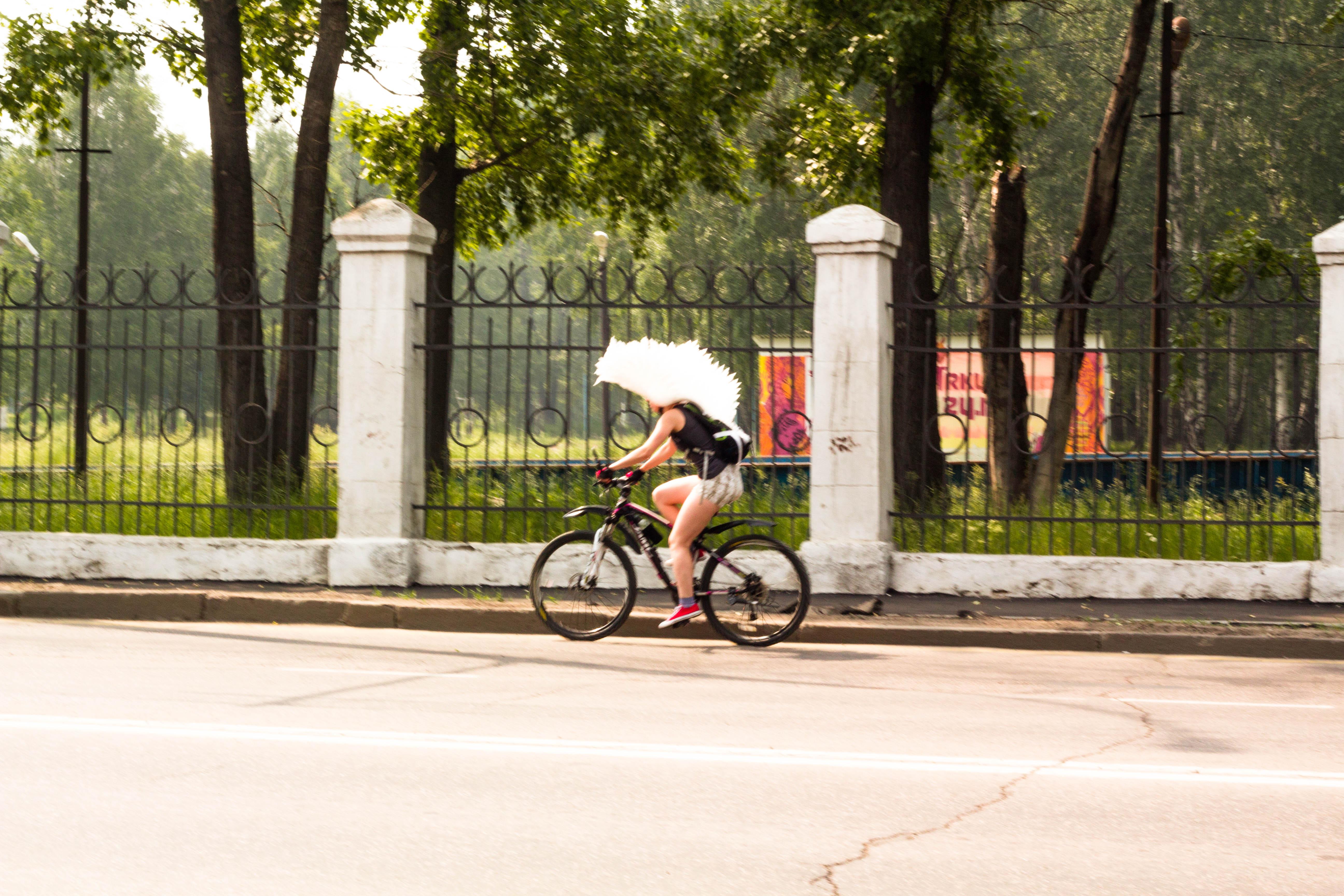 Забавный крылатый велосипндист. Иркутск
